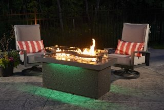 Innovative design for heat below Boreal Complete Heat with Green LED lights by The Outdoor GreatRoom Company for your patio or deck party