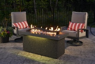 Innovative, fun design Boreal Complete Heat Gas Fire Pit Table by The Outdoor GreatRoom Company offers heat above and below for your patio or deck style