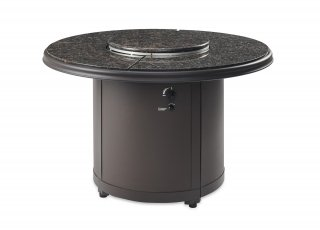 Stylish, versatile design Brown Granite Beacon Dining Height Gas Fire Pit Table with Lazy Susan Burner Cover by The Outdoor GreatRoom Company for your patio or deck
