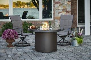 Stylish, unique design Brown Granite Beacon Dining Height Gas Fire Pit Table by The Outdoor GreatRoom Company for outdoor dining and entertaining
