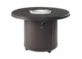 Stylish, versatile design Brown Granite Beacon Dining Height Gas Fire Pit Table by The Outdoor GreatRoom Company for your patio or deck