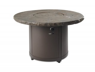 Stunning, unique design Marbleized Noche Beacon Dining Height Gas Fire Pit Table with matching burner cover by The Outdoor GreatRoom Company for your patio or deck