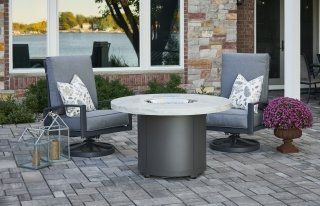 Stylish, durable White Onyx Beacon Dining Height Gas Fire Pit Table by The Outdoor GreatRoom Company for your patio or deck