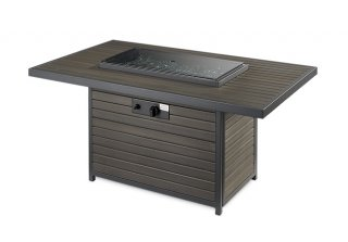 Versatile, modern design Brooks Gas Fire Pit Table with Burner Cover by The Outdoor GreatRoom Company for your patio gathering or deck party