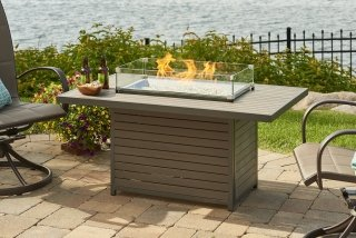 Stylish, modern design Brooks Gas Fire Pit Table by The Outdoor GreatRoom Company for your modern patio or lakeside spot