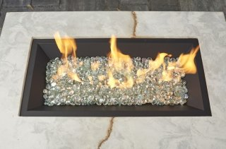"12x24"" Black Crystal Fire Burner"