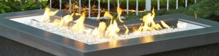 Linear L-Shaped Stainless Steel Gas Burner by The Outdoor GreatRoom Company for your DIY backyard and patio projects
