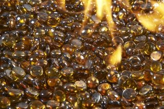 Amber Tempered Fire Glass Gems