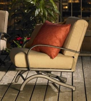 Stylish, comfy design Tan Chat Chairs by The Outdoor GreatRoom Company for your deck or patio