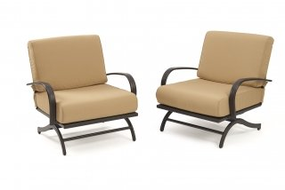 Deep seating, stylish design Tan Chat Chairs by The Outdoor GreatRoom Company for your patio or deck