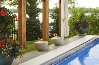 Stylish, contemporary look Cove 12 Gas Fire Pit Bowls by the Outdoor GreatRoom Company to compliment your poolside patio