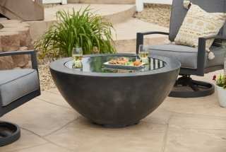 "Modern Black 30"" Cove Round Gas Fire Pit Bowl with glass burner cover by The Outdoor GreatRoom Company for your patio or backyard space"