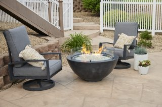 "Modern Black 30"" Cove Round Gas Fire Pit Bowl by The Outdoor GreatRoom Company for your patio or backyard space"