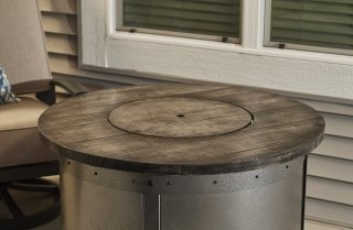 Versatile, Modern Design Edison Round Gas Fire Pit Table With Burner Cover  By The Outdoor