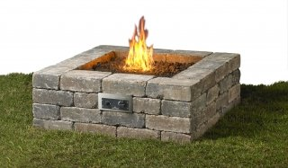 Fresco Square Gas Fire Pit on grass