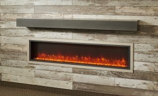 "64"" Linear built In Electric Fireplace with Orange Flame"