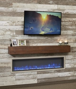 "64"" LInear Built In Electric Fireplace Blue flame with TV"