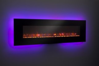 "94"" Linear Wall Mount Electric Fireplace with Purple LED"