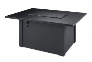 Black Grandstone Rectangular Gas Fire Pit Table with Burner Cover by The Outdoor GreatRoom Company for your backyard or patio