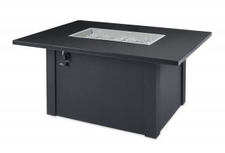 Black Grandstone Rectangular Gas Fire Pit Table by The Outdoor GreatRoom Company for your backyard or patio