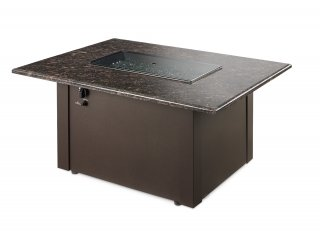 Functional, stylish design Brown Grandstone Gas Fire Pit Table with Burner Cover by The Outdoor GreatRoom Company for your backyard entertaining or patio party