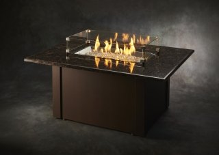 Beautiful, stylish design Brown Grandstone Gas Fire Pit Table with Glass Guard by The Outdoor GreatRoom Company for your unique patio or deck