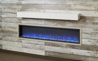 Non-Combustible White Supercast Modern Mantel for your indoor fireplace or outdoor fireplace by The Outdoor GreatRoom Company