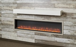 Non-Combustible White Supercast Modern Mantel for your indoor fireplace or outdoor fireplace living room space by The Outdoor GreatRoom Company