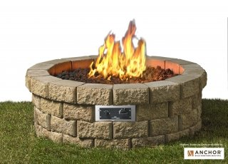 Beautiful build your own Hudson Stone Gas Fire Pit Kit by the Outdoor GreatRoom Company for your dream patio or backyard