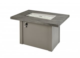 Stone Grey Havenwood Gas Fire Pit Table with Grey metal base by The Outdoor GreatRoom Company for your backyard, patio, or deck