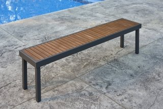 Modern, easy to care for design Kenwood Long Bench by The Outdoor GreatRoom Company for your patio or deck
