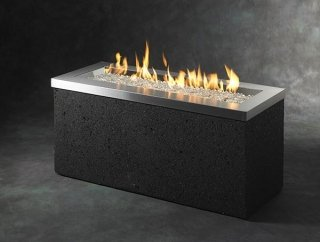 Timeless, modern design Stainless Steel Key Largo Gas Fire Pit Table by The Outdoor GreatRoom Company for dream outdoor space