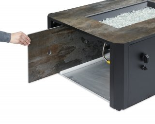 Modern, transitional, unique Kinney Rectangular Gas Fire Pit Table with space for storing the burner cover by The Outdoor GreatRoom Company for your patio or backyard design