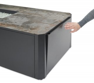 Modern, easy to access Kinney Rectangular Gas Fire Pit Table with magnetic access door for convenience by The Outdoor GreatRoom Company for your patio or backyard