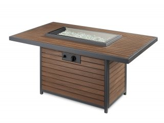 Modern, trendy design Kenwood Rectangular Gas Fire Pit Table flame off by The Outdoor GreatRoom Company for your patio or backyard