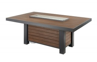 Modern, linear design Kenwood Dining Height Gas Fire Pit Table by The Outdoor GreatRoom Company for your dream patio or deck space