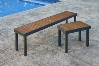 Modern, easy to care for Kenwood Long and Short Benches by The Outdoor GreatRoom Company for your unique patio or backyard