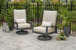 Unique, comfy Cast Ash Lyndale Highback Swivel Rocking Chairs by the Outdoor GreatRoom Company for your patio or deck