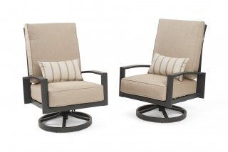 Comfortable, modern design Lyndale Highback Swivel Rocking Chairs by the Outdoor GreatRoom Company for your patio or deck