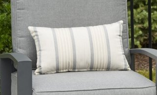 Stylish, versatile design Cove Pebble Lumbar Pillow by the Outdoor GreatRoom Company for your comfy patio or deck gathering spot