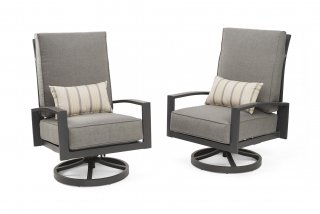 Modern, comfy design Lyndale Highback Swivel Rocking Chairs by the Outdoor GreatRoom Company for your deck or backyard