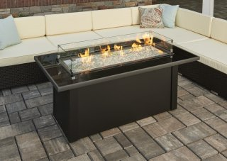 Durable, Simple Design Monte Carlo Gas Fire Pit Table With Glass Wind Guard  By The