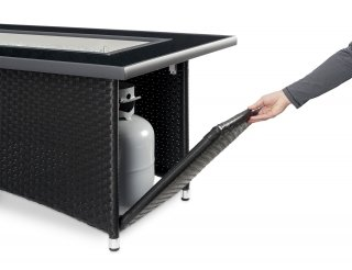 Black Montego Linear Gas Fire Pit Table Access Door by The Outdoor GreatRoom Company for convenience and style