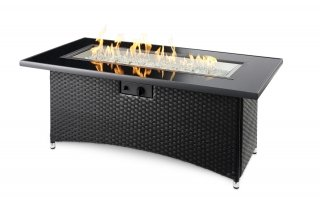 Wicker base, simple design Black Montego Linear Gas Fire Pit Table by The Outdoor GreatRoom Company for your patio or backyard