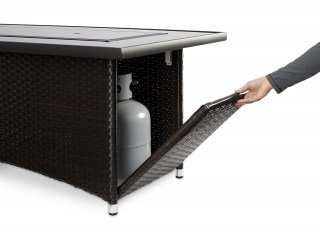 Balsam Montego Linear Gas Fire Pit Table Access Door by The Outdoor GreatRoom Company for convenience and style