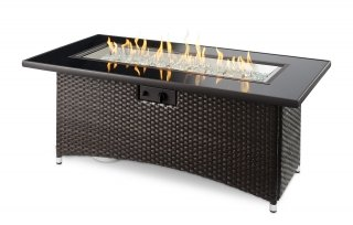 Upscale, trendy style Balsam Montego Linear Gas Fire Pit Table by The Outdoor GreatRoom Company for your patio and backyard gatherings