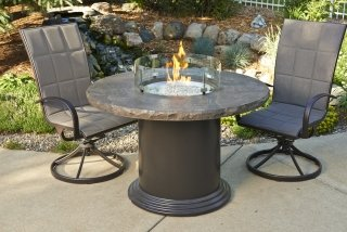 Marbleized Noche Colonial Dining Height Fire Pit Table with Glass Guard