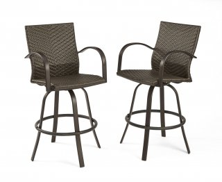Stylish, comfortable outdoor seating Resin Wicker Bar Stools by The Outdoor GreatRoom Company for your deck gatherings and patio parties