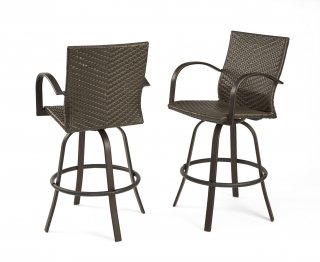 Beautiful, durable design Resin Wicker Bar Stools by The Outdoor GreatRoom Company for comfort and style in your backyard or patio