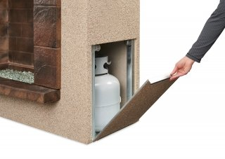 Convenient, easy to use Stone Arch Gas Fireplace Access Door by the Outdoor GreatRoom Company for your patio or deck